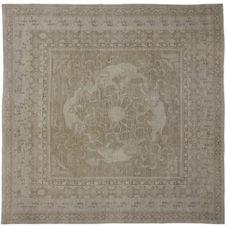 "Chinese Foo Dog Transitional Square Rug - 13'6"" x 13'6"""