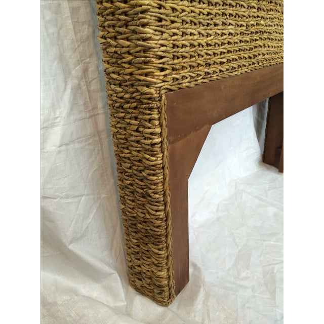 Woven Rattan and Teak Headboards - Pair - Image 7 of 9