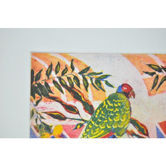 Image of 'Tropical Parrot' Colorful Monoprint