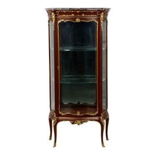 1880s Antique French Louis XV Style Ormolu Mounted Kingwood Vitrine Cabinet
