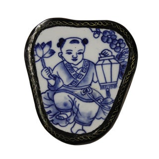 Blue & White Baby Figure Porcelain Jewelry Box