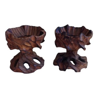 Boho Rustic Carved Wood Candle Holders - A Pair