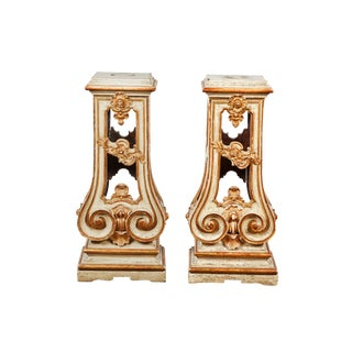 Pair of 18th Century Italian Rococo Cream Painted and Parcel Gilt-Pedestal