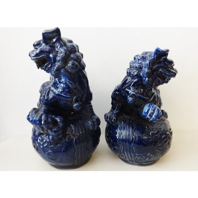 Cobalt Temple Foo Dogs- A Pair - Image 3 of 7