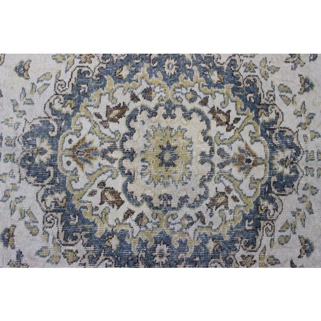 "Blue Cream Turkish Overdyed Rug - 6'1"" X 10' - Image 6 of 9"