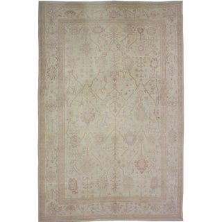 Hand Knotted Fine Oushak Rug - 9′2″ × 12′5″