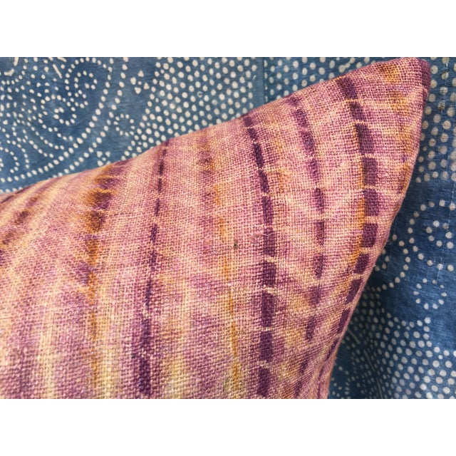 Burmese Hand Batik Linen Pillow - Image 3 of 7