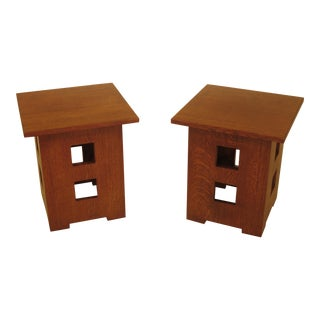 Stickley Limbert Style Mission Oak Cube Tables - a Pair