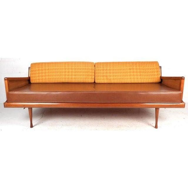 Image of Mid-Century Modern Walnut and Cane Sofa