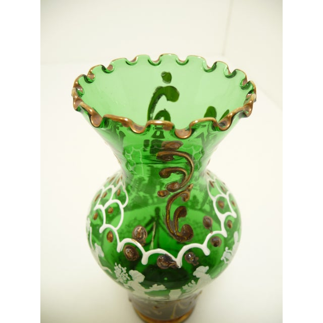 Italian Hand Painted Emerald Art Glass Cabinet Vases A