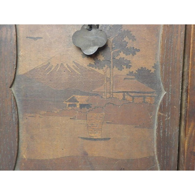 Japanese Card Game Set in Wood Box Hand Painted Calligraphy Poem Vintage Antique - Image 7 of 11