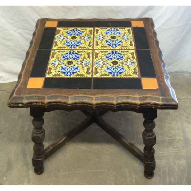 Antique Monterey Tile Table - Image 2 of 6