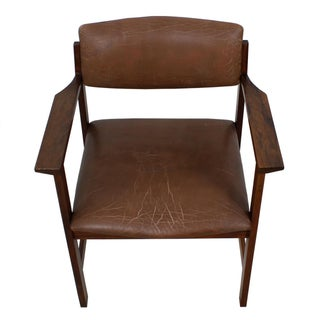 Danish Modern Rosewood & Brown Leather Chair