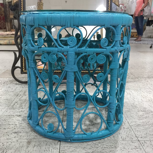 Blue Wicker Drum Table - Image 3 of 9