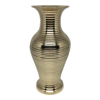 Vintage Brass Vase With Ribbed Texture