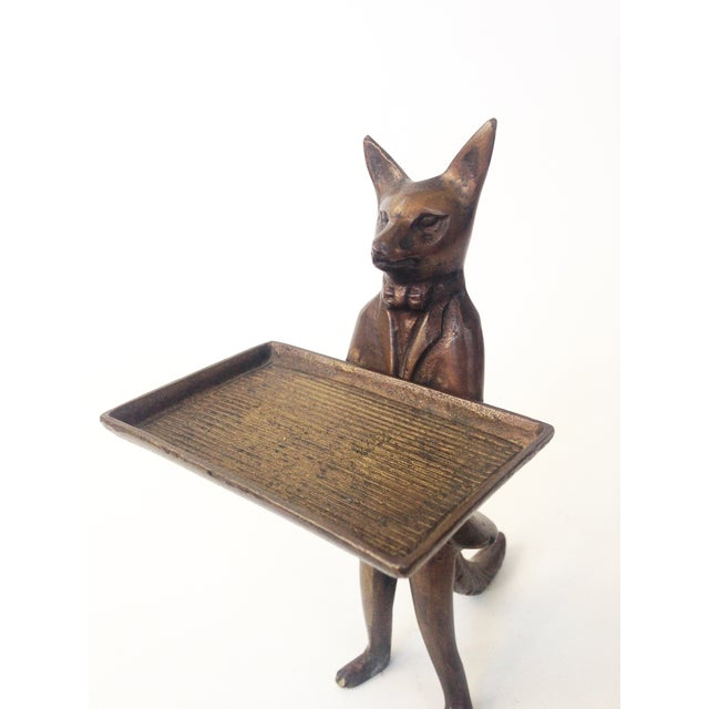 Image of Vintage Brass Fox Business Card Dish