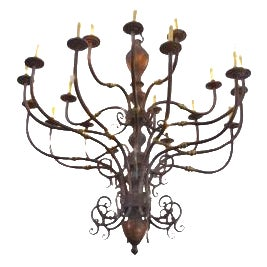 Large Early 1900s Handmade Copper and Brass Chandelier