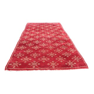 "Red Oriental Turkish Shaggy Tülü Rug - 4'11"" x 9'11"""