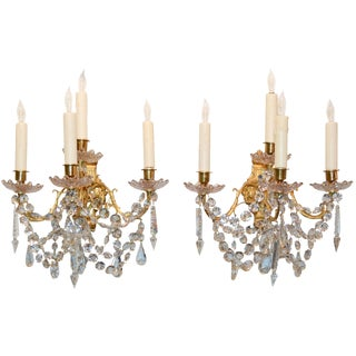 Fine Pair of 19th C. French Baccarat Crystal Sconces