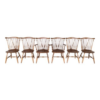 Ethan Allen Windsor Brace Back Maple Dining Chairs - Set of 6