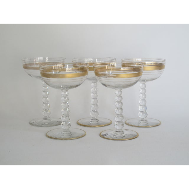 Image of Gilded Champagne Coupes - Set of 5
