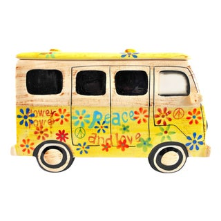 Yellow Hippie Van Ceramic Cookie Jar