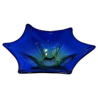 Vintage Blue & Green Murano Glass Bowl