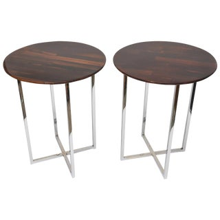 Pair of Sculptural Milo Baughman Polished Chrome and Exotic Wood Side Tables