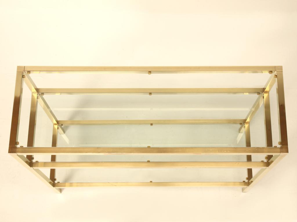 Vintage French Modern 3 Level Brushed Brass U0026 Glass Console Table   Image  11 Of 11