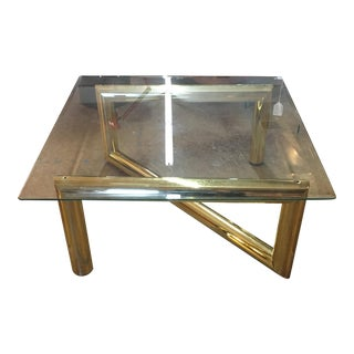 Karl Springer Style Brass & Glass Z Tubular Base Coffee Table