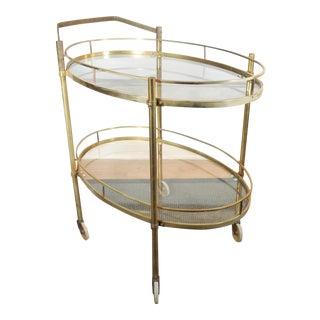 Vintage Mid Century Solid Brass Bar Tea Hostess Serving Cart