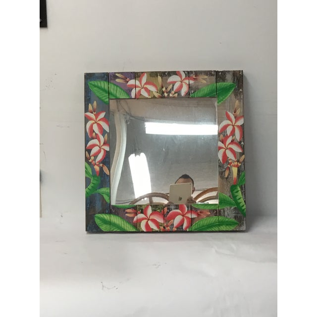Floral Wooden Mirror - Image 4 of 4