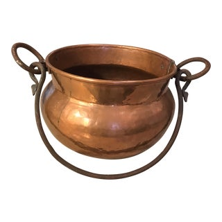 Antique Copper Cauldron Planter