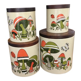 Vintage Mushroom Canisters - Set of 4