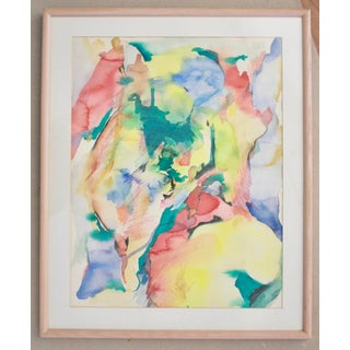 Modern Abstract Signed & Framed Watercolor Painting