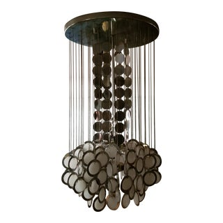 Mid-Century Chrome and Glass Disc Chandelier