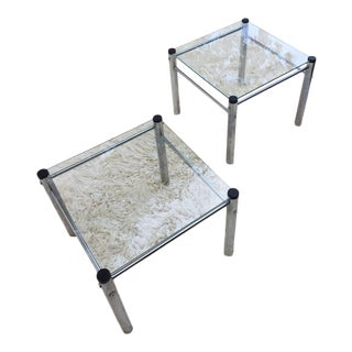 Mod Glass/Chrome End Tables - Pair