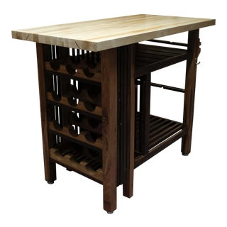 Handcrafted Kitchen Island Wine Bar With Butcher Block