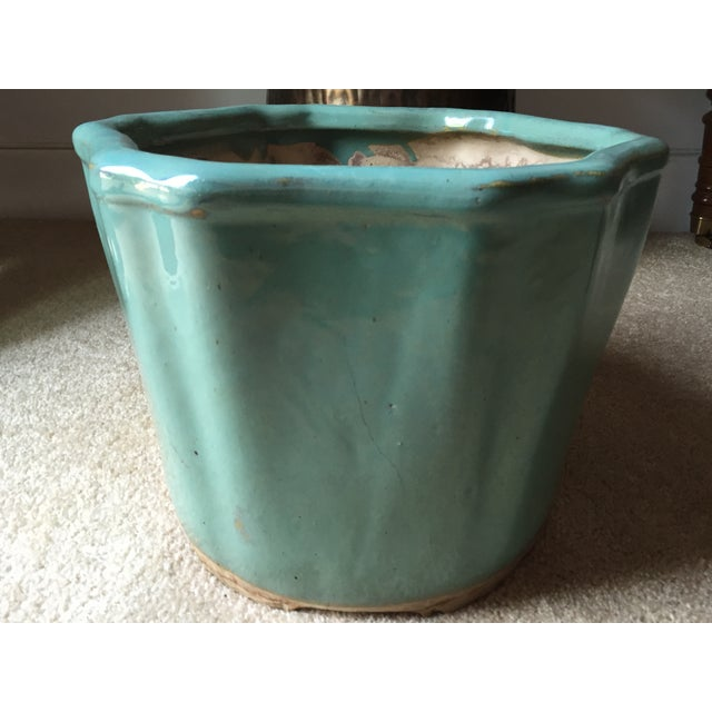 Image of Vintage Celadon Chinoiserie Style Planter-13""