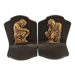 Bradley Hubbard Cast Iron Study & Science Bookends - A Pair