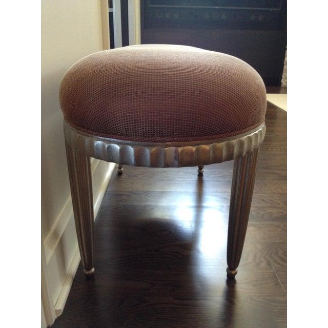 Interior Crafts Silver Leaf Upholstered Bench - Image 3 of 11