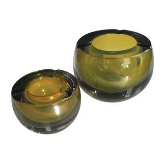 Chartreuse Glass Tea Light Bowls - A Pair