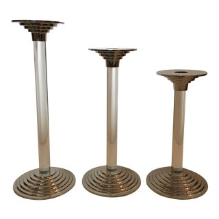 Lucite and Chrome Candle Holders - Set of 3