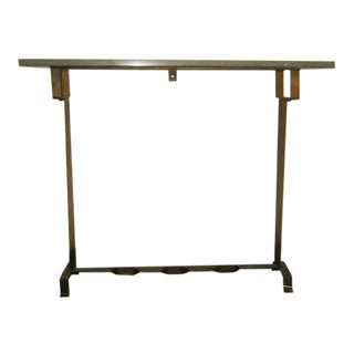 2 WROUGHT IRON and MARBLE CONSOLES