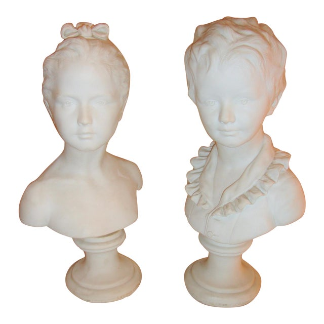 Image of Brother and Sister Parian Busts- A Pair