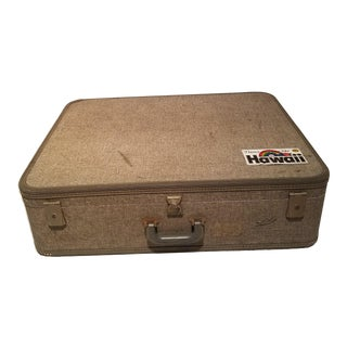Large Gray Vintage Suitcase