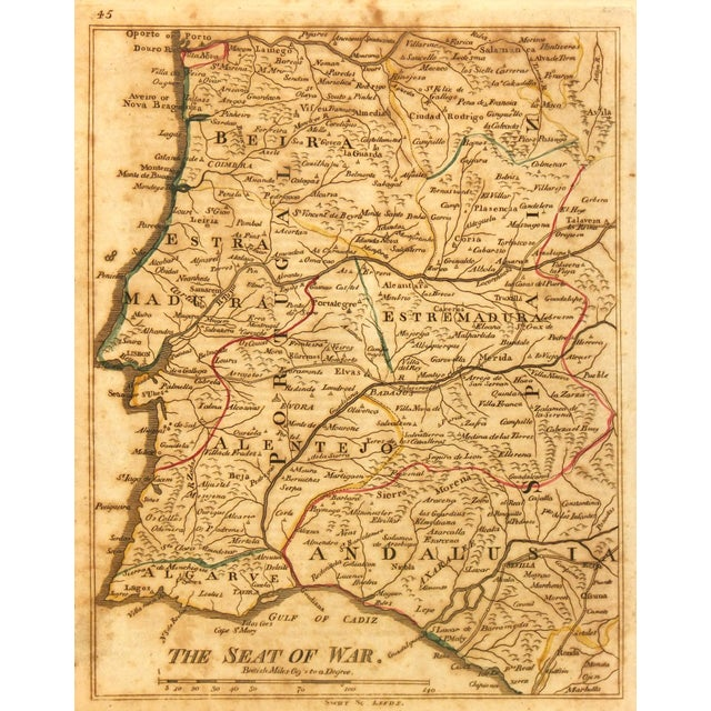 Image of 1811 Vintage Andalusia And Portugal Map