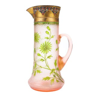 French Glass & Enamel Pink Pitcher