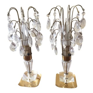 Art Deco Crystal Brass Lamps - A Pair