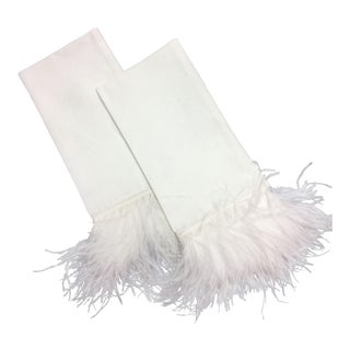Linen and Ostrich Feather Guest Towels - A Pair